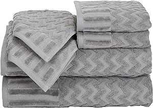 Lavish Home 6-Piece Cotton Deluxe Plush Bath Towel Set – Chevron Pattern Plush Sculpted Spa Luxury Decorative Body, Hand and Face Towels (Silver)