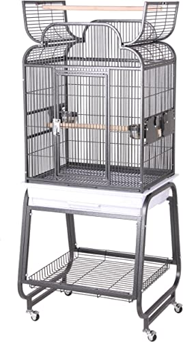 HQ s Opening Scroll Parrot Cage with Cart Stand, Small, Platinum, 1 Per Box
