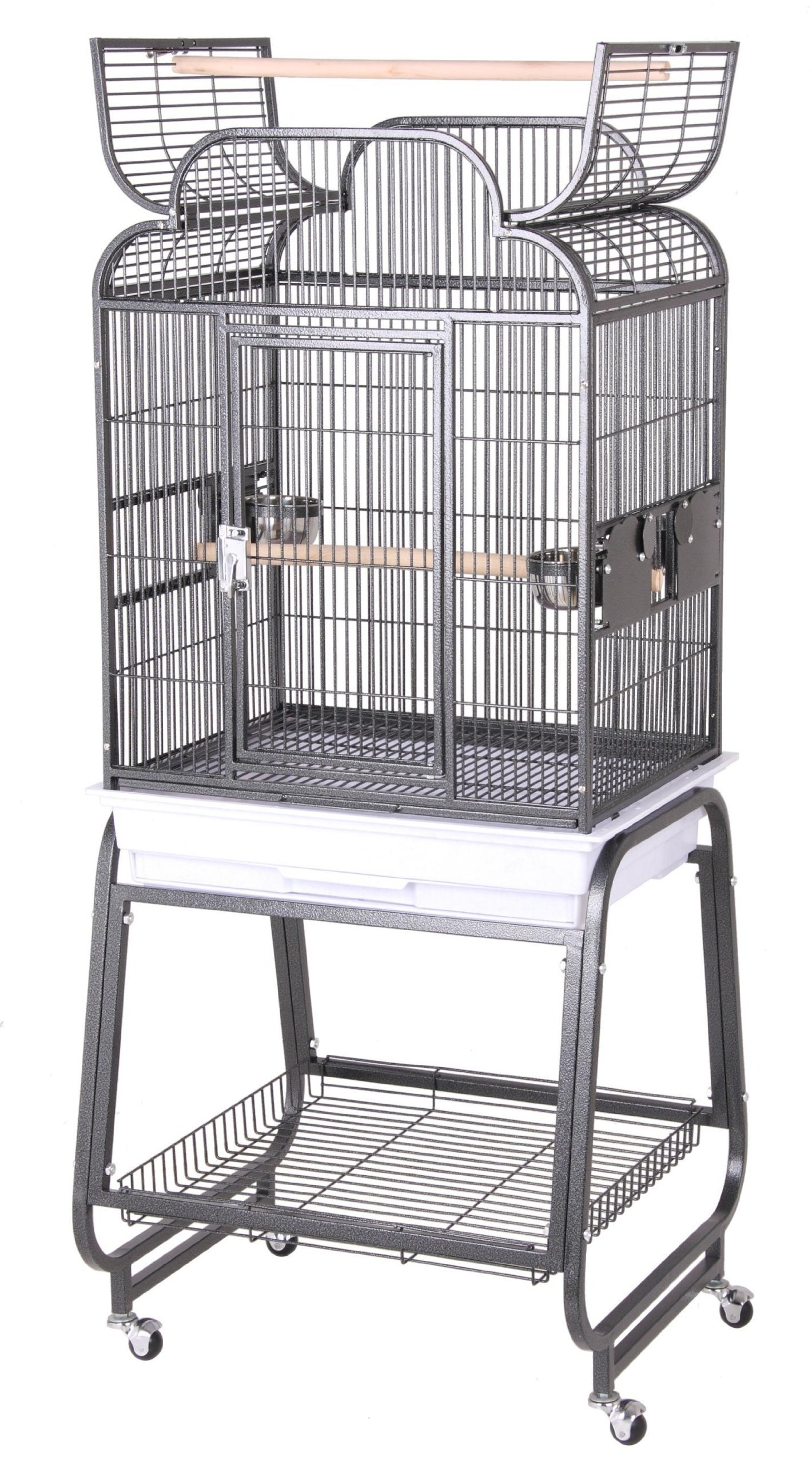 HQ's Opening Scroll Parrot Cage with Cart Stand, Small, Platinum, 1 Per Box by Hq