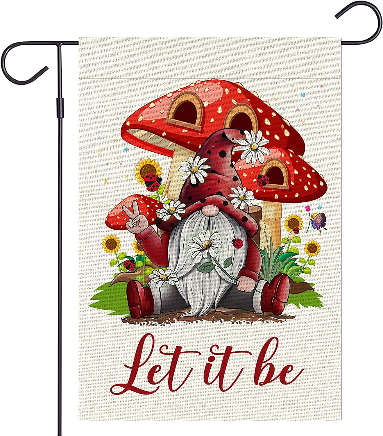 Haustalk Let it be Red Gnomes Garden Flag Vertical Double Sided Mushroom Yard Spring Summer Outdoor Decor (12.5 x 18, Let it be)