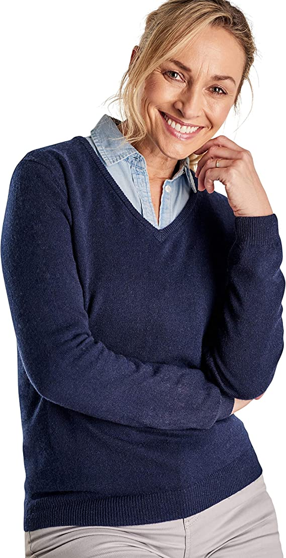 WoolOvers Ladies Cashmere and Merino V Neck Knitted Sweater