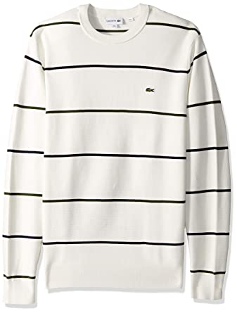 b740e35dbf Lacoste Men s Long Sleeve Links Cotton Striped Sweater at Amazon Men s  Clothing store