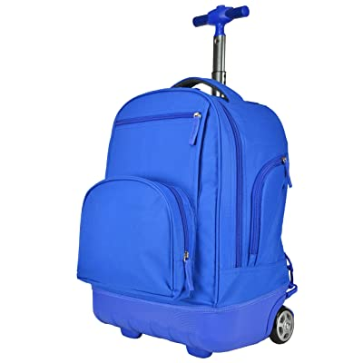 Blue Rolling Briefcase For Kids Solid Pattern Polycarbonate Plastic Material