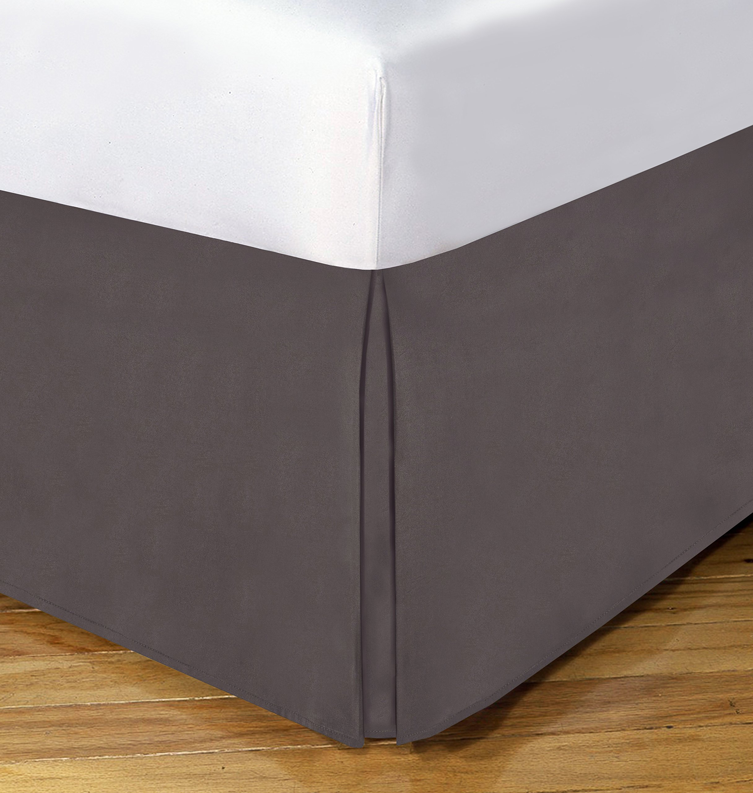 Today's Home Microfiber Bed Skirt Dust Ruffle Classic Tailored Styling 14'' Drop Queen, Grey