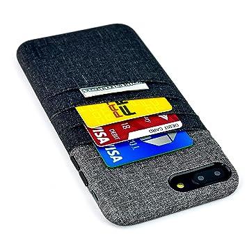 Dockem Funda para Tarjetas y Billetes para iPhone 8 Plus e iPhone 7 Plus - Piel sintética con Estilo de Tela de Lienzo, Profesional con 3 Ranuras para ...