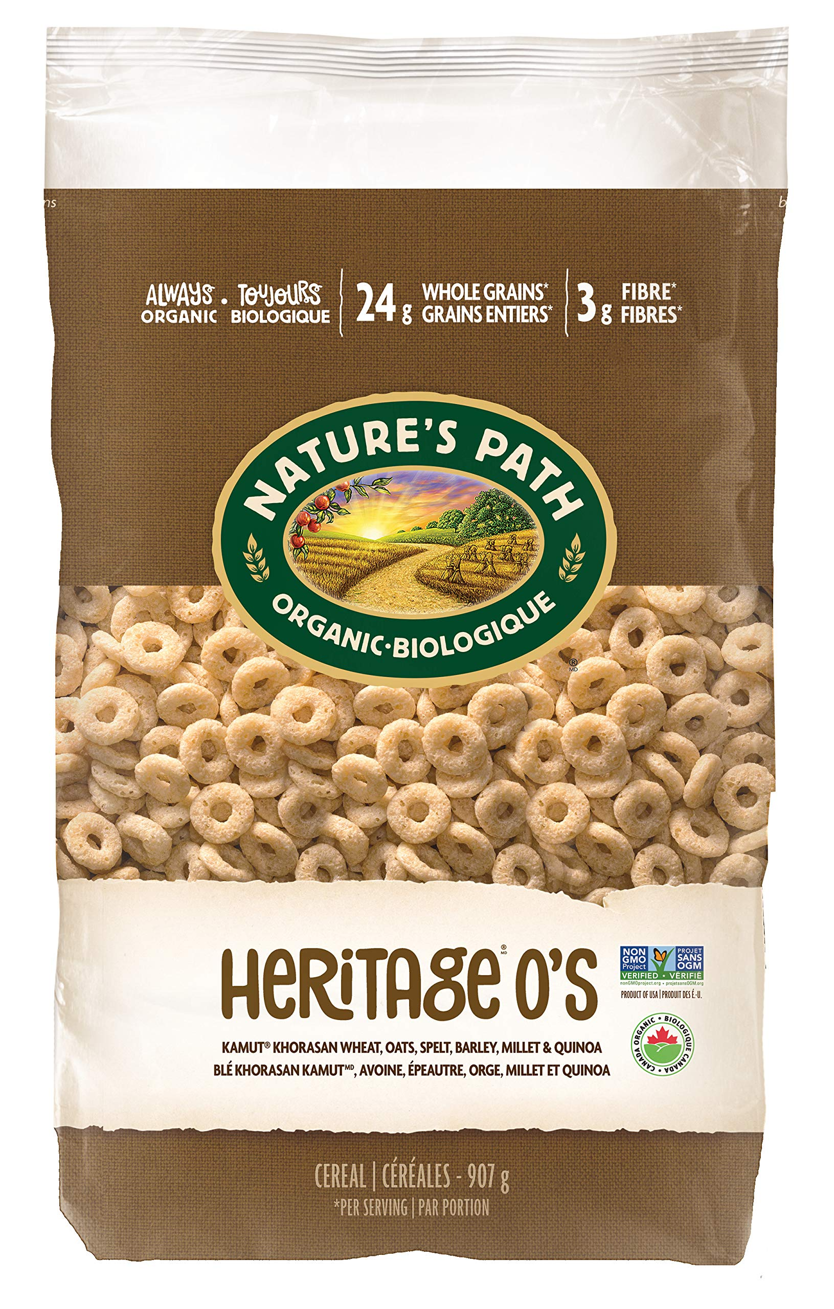 Nature's Path Heritage O's Cereal, Healthy, Organic, Low-Sugar, 32 Ounce Bag (Pack of 6) by Nature's Path