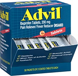 Advil (50 Packets of 2 Capsules) Pain Reliever / Fever Reducer Coated Tablet, Individually Sealed, 200mg Ibuprofen, Temporary Pain Relief, Travel Pack