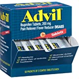 Advil Pain Reliever / Fever Reducer Coated Tablet Refill, 200mg Ibuprofen, Temporary Pain Relief (50 Packets of 2 Tablets)