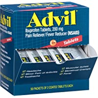 Advil (50 Packets of 2 Capsules) Pain Reliever/Fever Reducer Coated Tablet, Individually Sealed, 200mg Ibuprofen, Temporary Pain Relief, Travel Pack