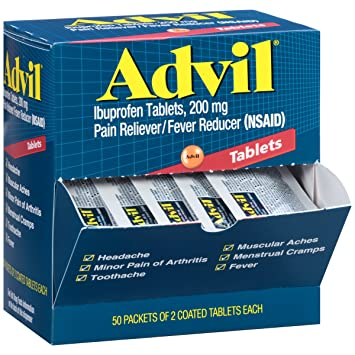 Advil (50 Packets of 2 Capsules) Pain Reliever / Fever Reducer Coated  Tablet,