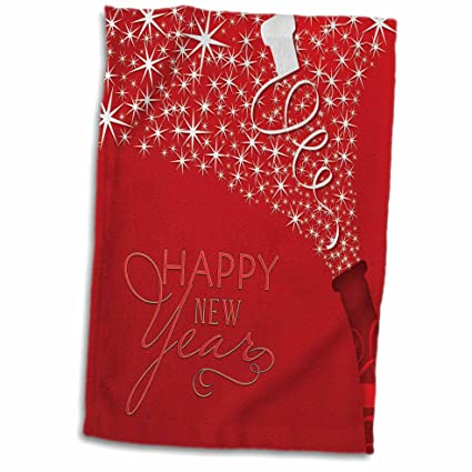 3d rose happy new year with champaign and cork on red background twl_203114_1 towel 15quot