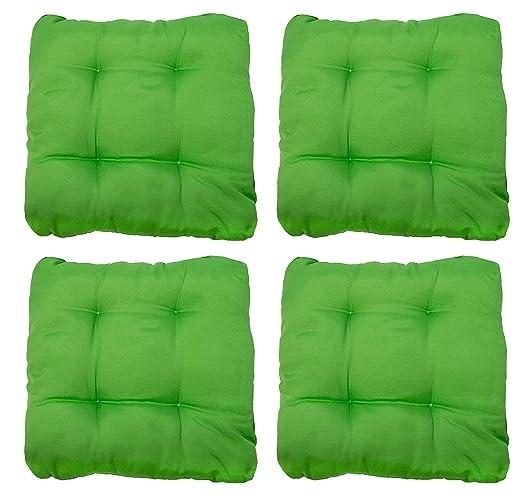 ZOLLNER 4 mullidos Cojines para Silla, 38x38x6 cm, Verde, en Otros Colores