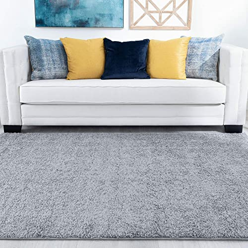 Tayse Barde Gray 9×12 Shag Rectangle Area Rug