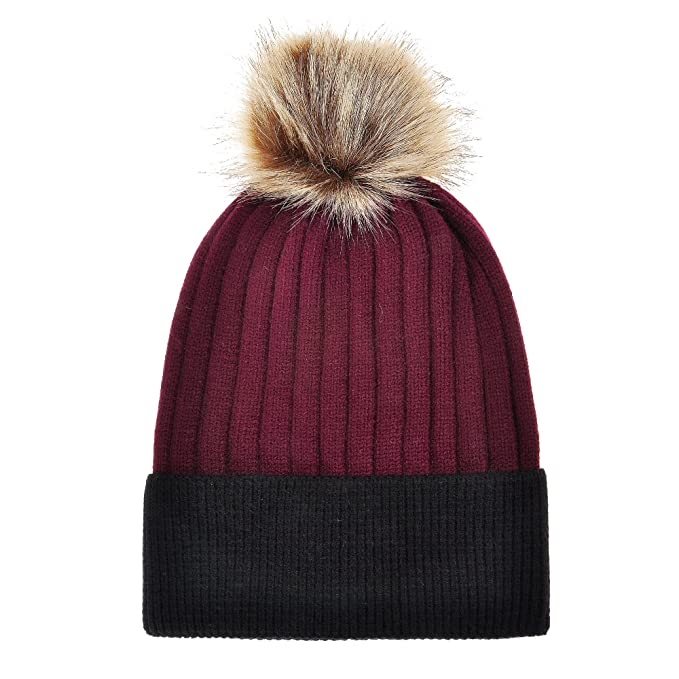 b761feaa6e5 ZLYC Women s Winter Warm Two-Tone Ribbed Knit Cuff Beanie Hat with Faux Fur  Pom