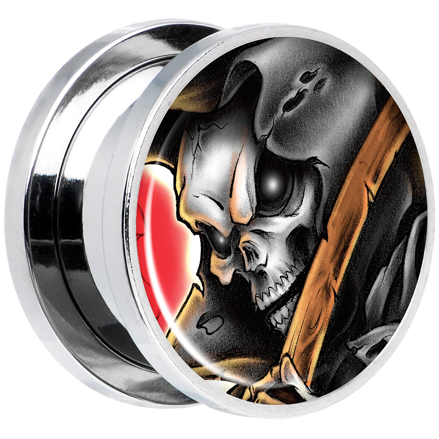 Body Candy Steel Wake The Dead Grim Reaper Halloween Plug Set of 2 5mm to 20mm