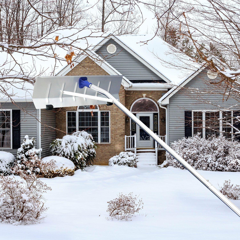 Kinbor 20Ft Snow Shovel Roof Rake Extendable with 6'' by 25'' Poly Blade by Kinbor (Image #1)