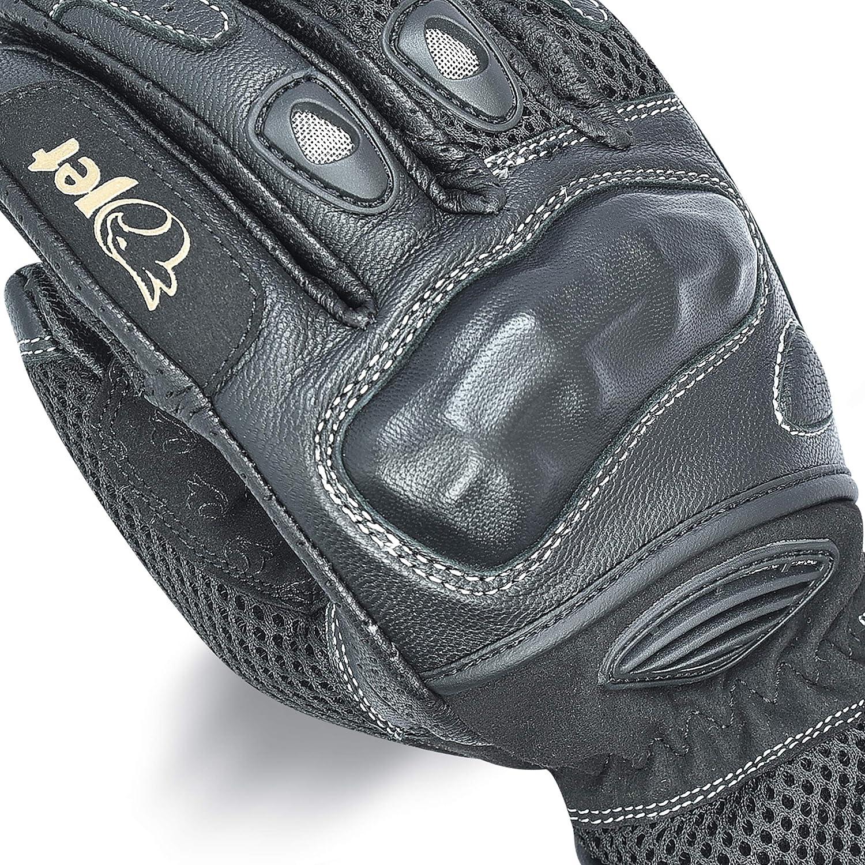 M, Noir Jet Gants Moto /ét/é Cuir Textil Protection des Articulations PRO MESH