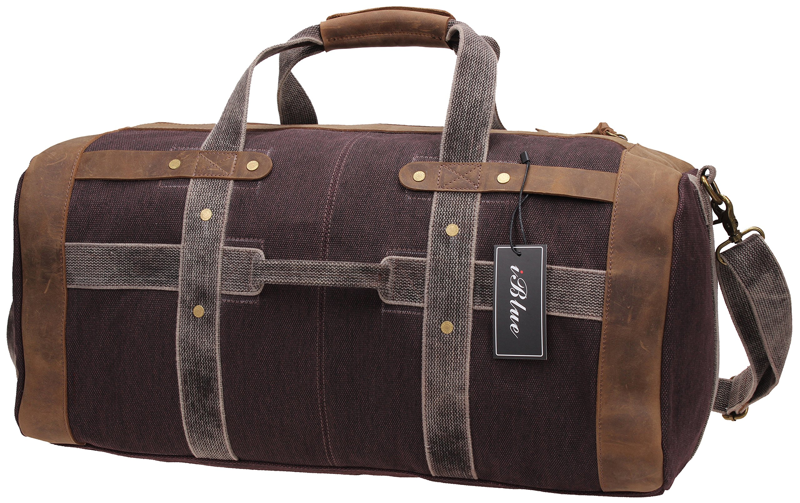 Iblue Weekend Bag Travel Duffel Bags For Men Canvas Carry On #B007(XL, coffee) by iblue (Image #1)