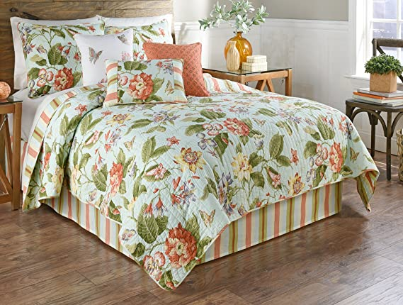 Waverly Laurel Springs 4 Piece Opal Reversible Quilt Collection King Home Kitchen