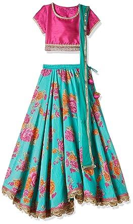 9456ea104d Biba Girls' Lehenga Choli (KW2390_PINK/TURQ_9): Amazon.in: Clothing ...
