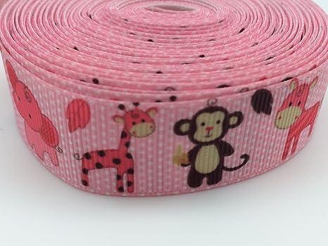 "5 yards 7//8/"" Skull Pink Zebra Printed Grosgrain Ribbon"