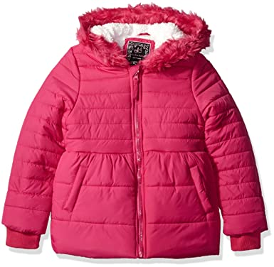 7133c62274d6 Amazon.com  Ok Kids! Girls  Quilted Jacket Faux Fur Trim On Hood ...