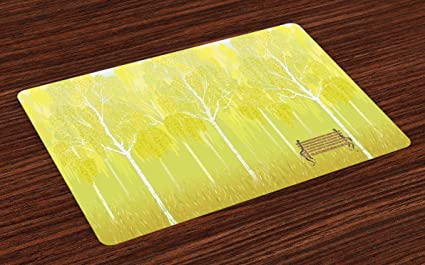 Lunarable Tree Place Mats Set Of 4, Bench On The Background Of Birch Trees  In