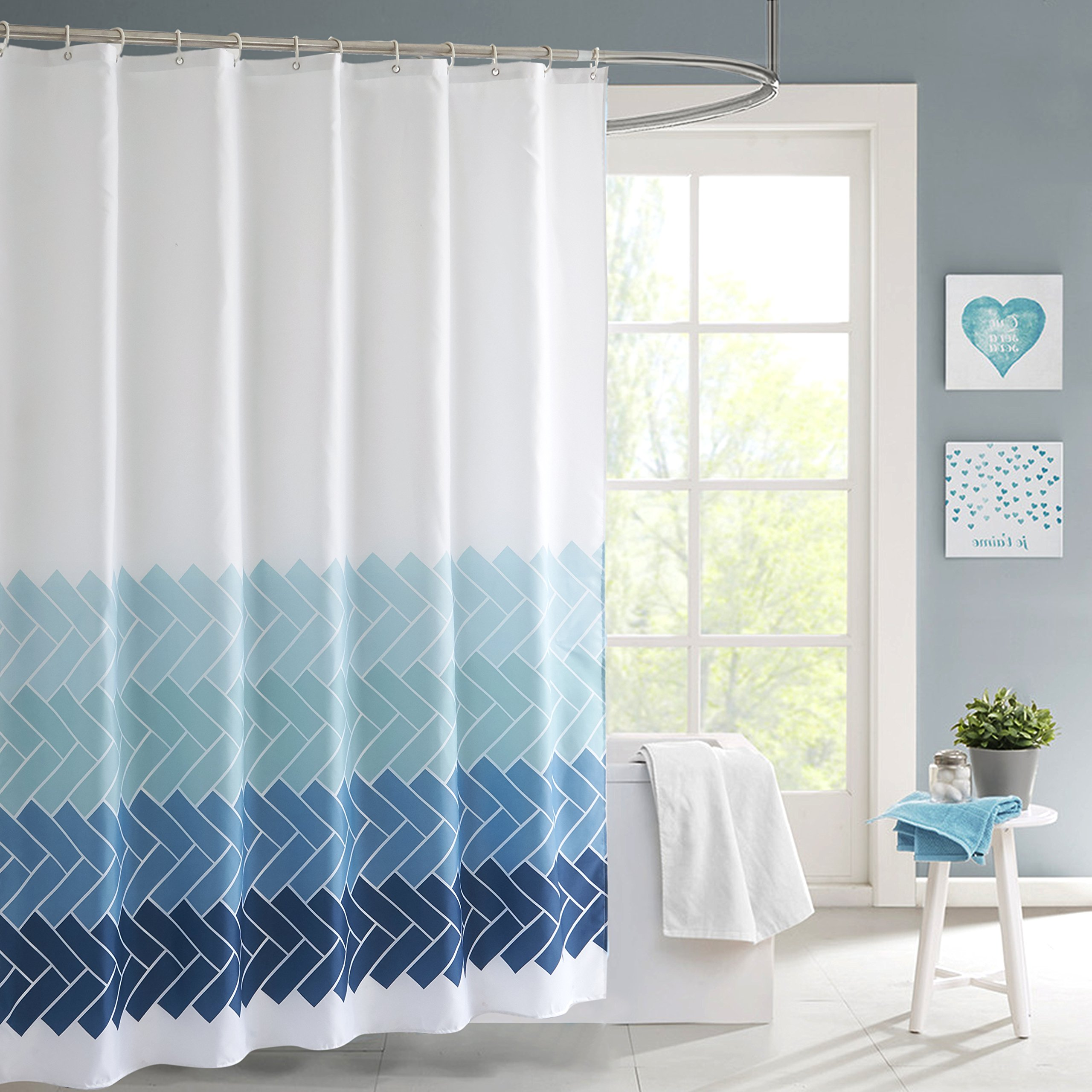 MithMetal Shower Curtain PEVA Waterproof & Water Repellent Bathtub Bathroom Shower Curtain Mildew Resistant Thickened Version Attached with 12 Shower Hooks 70'' x 78'' (Blue Stripe)