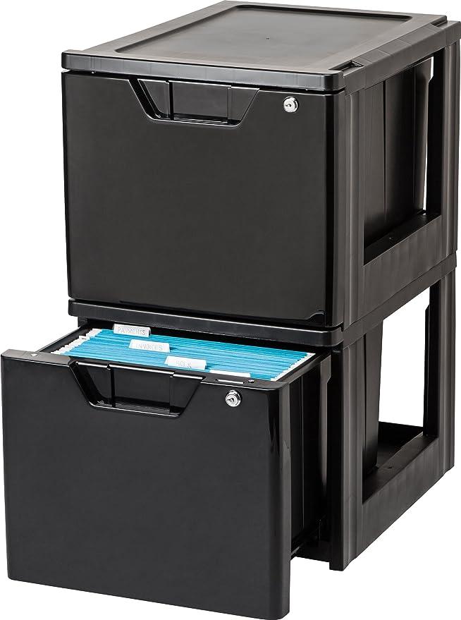 Amazon.com: IRIS Stacking File Storage Drawer with Lock, 2 Pack, Lock and Key: Home & Kitchen