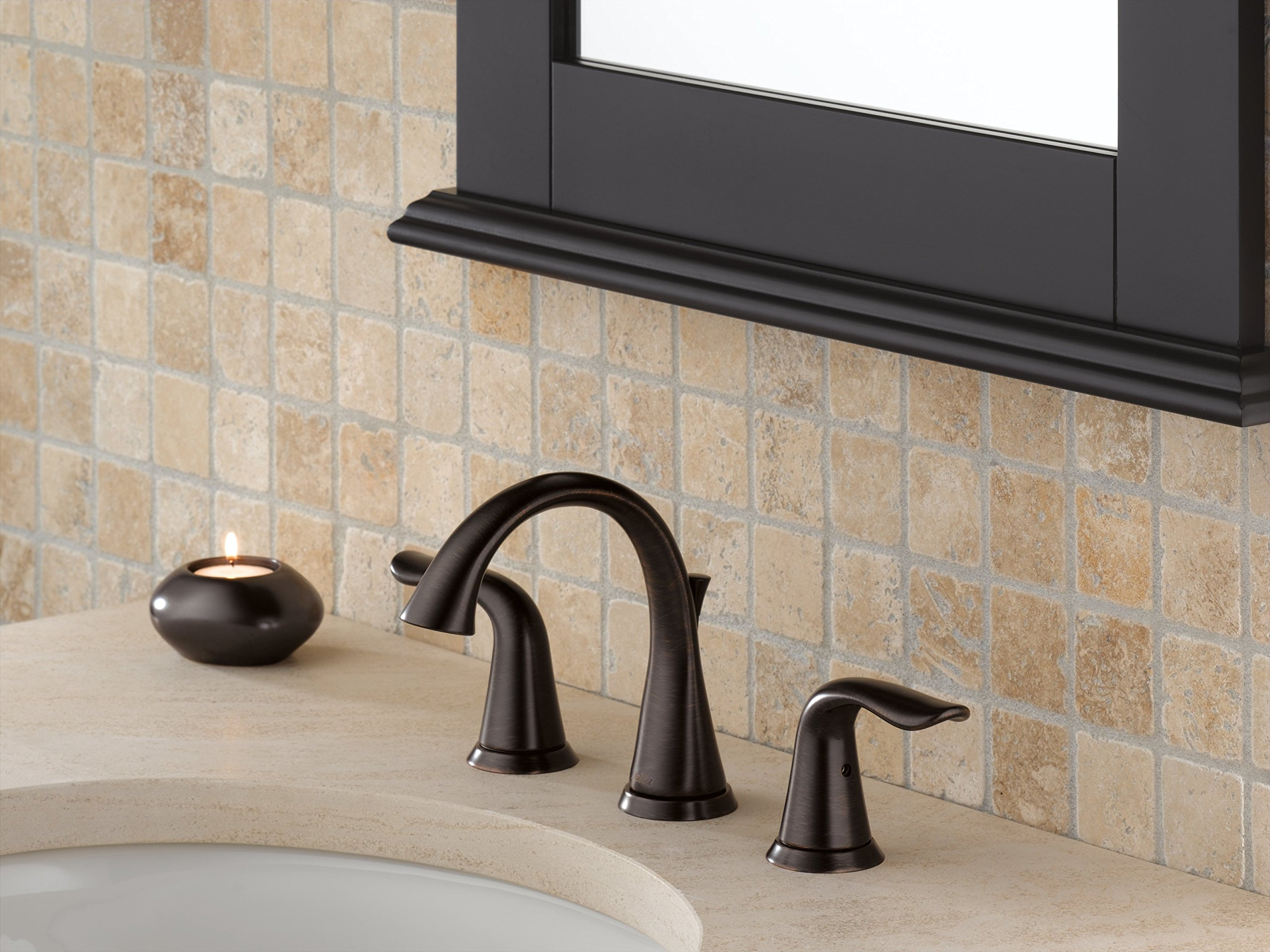 Delta 3538-RBMPU-DST Lahara 2-Handle Widespread Bathroom Faucet with Diamond Seal Technology and Metal Drain Assembly, Venetian Bronze by DELTA FAUCET (Image #2)