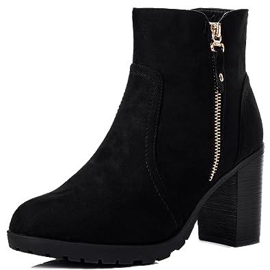 eaa8f9b723d8c Zipper Block Heel Ankle Boots Pumps Black Suede Style Sz 5