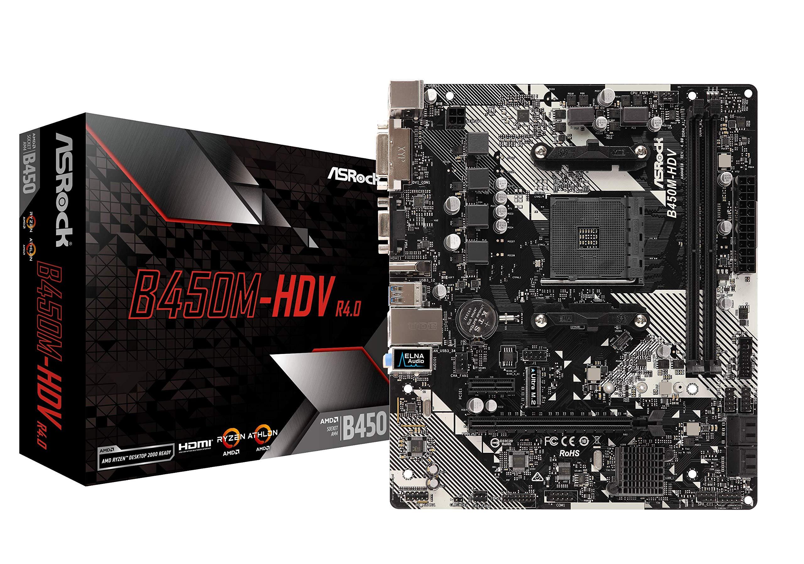 ASRock B450M-HDV R4.0 Socket AM4/ AMD Promontory B450/ DDR4/ SATA3&USB3.1/ M.2/ A&GbE/MicroATX Motherboard by ASRock