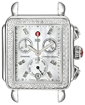 Michele Women S Mw06p01a1046 Deco Diamond Accented Stainless Steel Watch Head