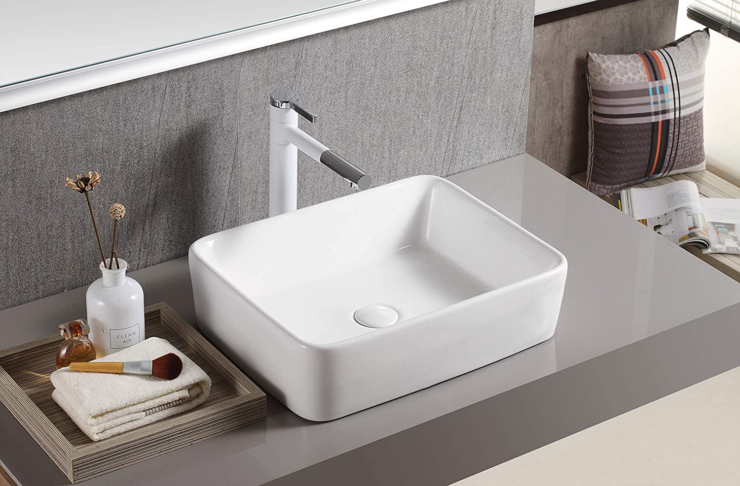 White 19.2 x 11.9 x 5 Inches Elanti Collection EC9848 Sink Curved Rectangular