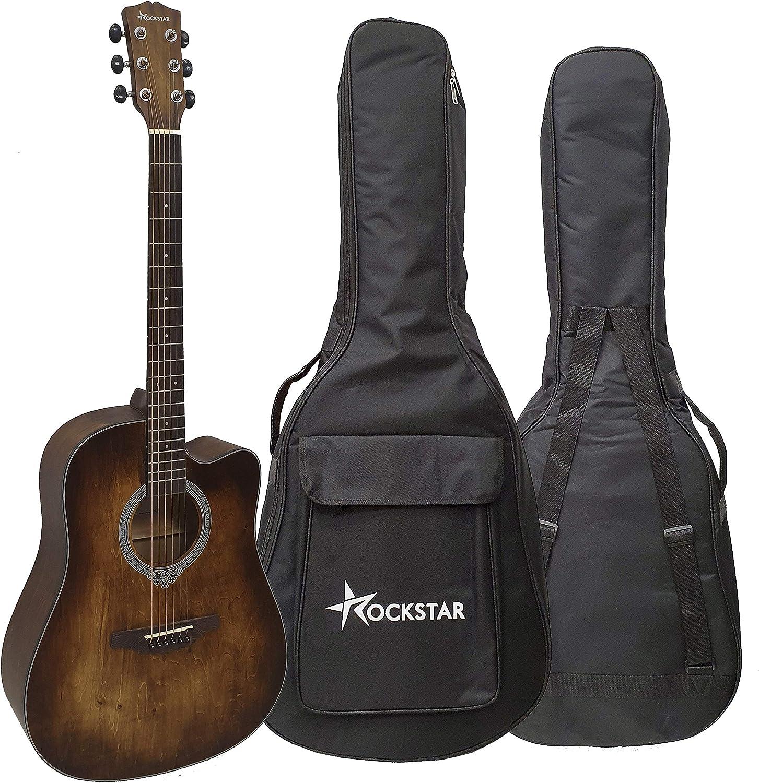 Guitarra acústica forma dreadnought Rockstar SA-4100BR con cutaway cuerdas metálicas y funda - rockmusic