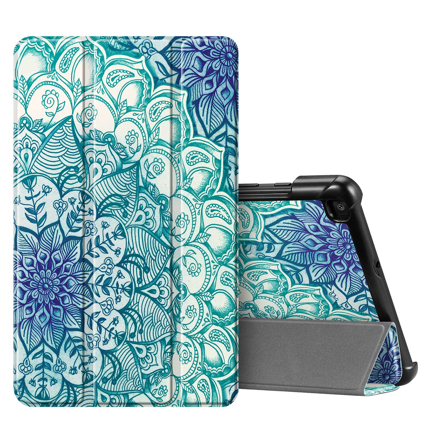 FINTIE SlimShell Case for Samsung Galaxy Tab A 8.0 2019 (SM-T290 / SM-T295), Super Thin Lightweight Magnetic Stand Cover for Samsung Galaxy Tab A8 8-Inch Tablet, Emerald Illusions