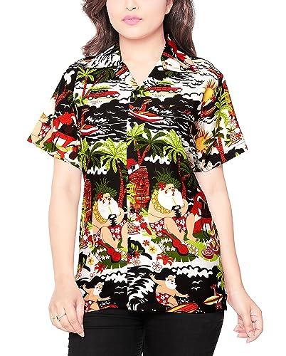CLUB CUBANA Blusa Camisa XMAS Christmas casual manga corta ajustado para mujer