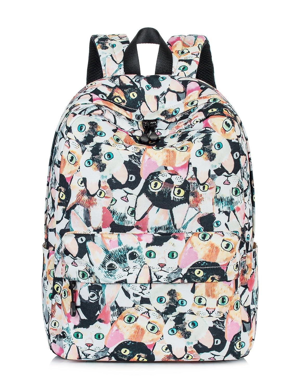 Amazon.com  Leaper Cat Face Laptop Backpack Women Daypack Travel Bag  Satchel Handbag Beige  Clothing 73073de46c