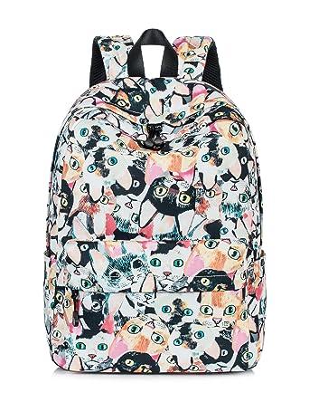 Leaper Cat Face Laptop Backpack Women Daypack Travel Bag Satchel Handbag  Beige 1037420cc7