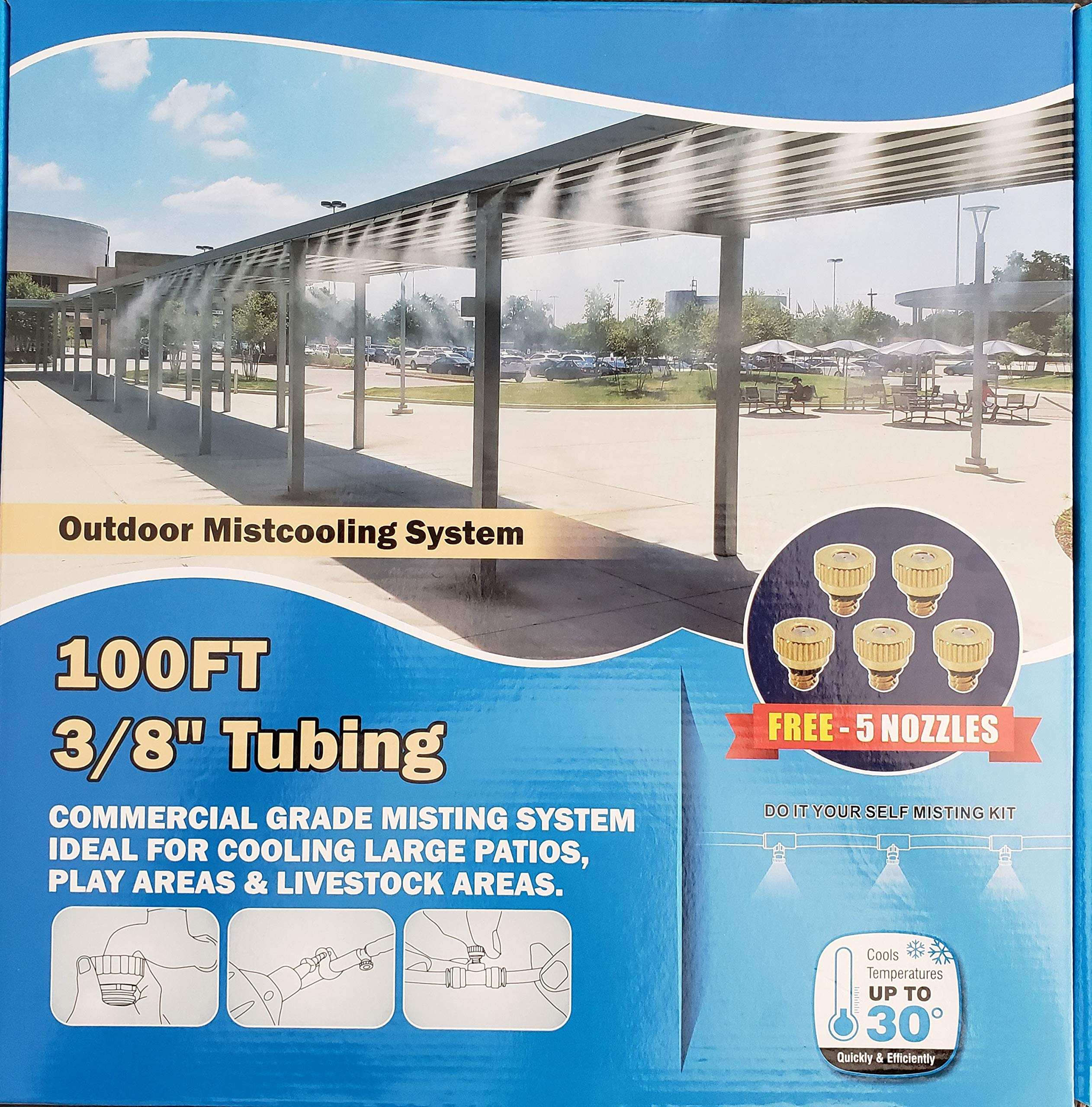 Hydrobreeze Outdoor Mistcooling System- 100 ft 3/8 Beige Tubing - 25 Misting Nozzles by Hydrobreeze