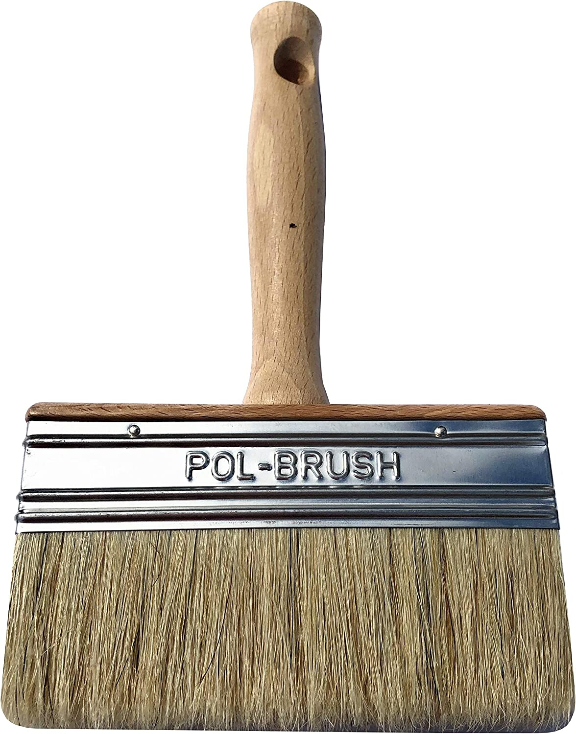 """5 inch European Professional Stain Block Paint Brush - Natural Bristle/Wood Handle - for Paint Job with Acrylic, Chalk, Oil Based, Latex, Stain, Watercolor, Wax, Varnish Paints. (5"""" Block)"""