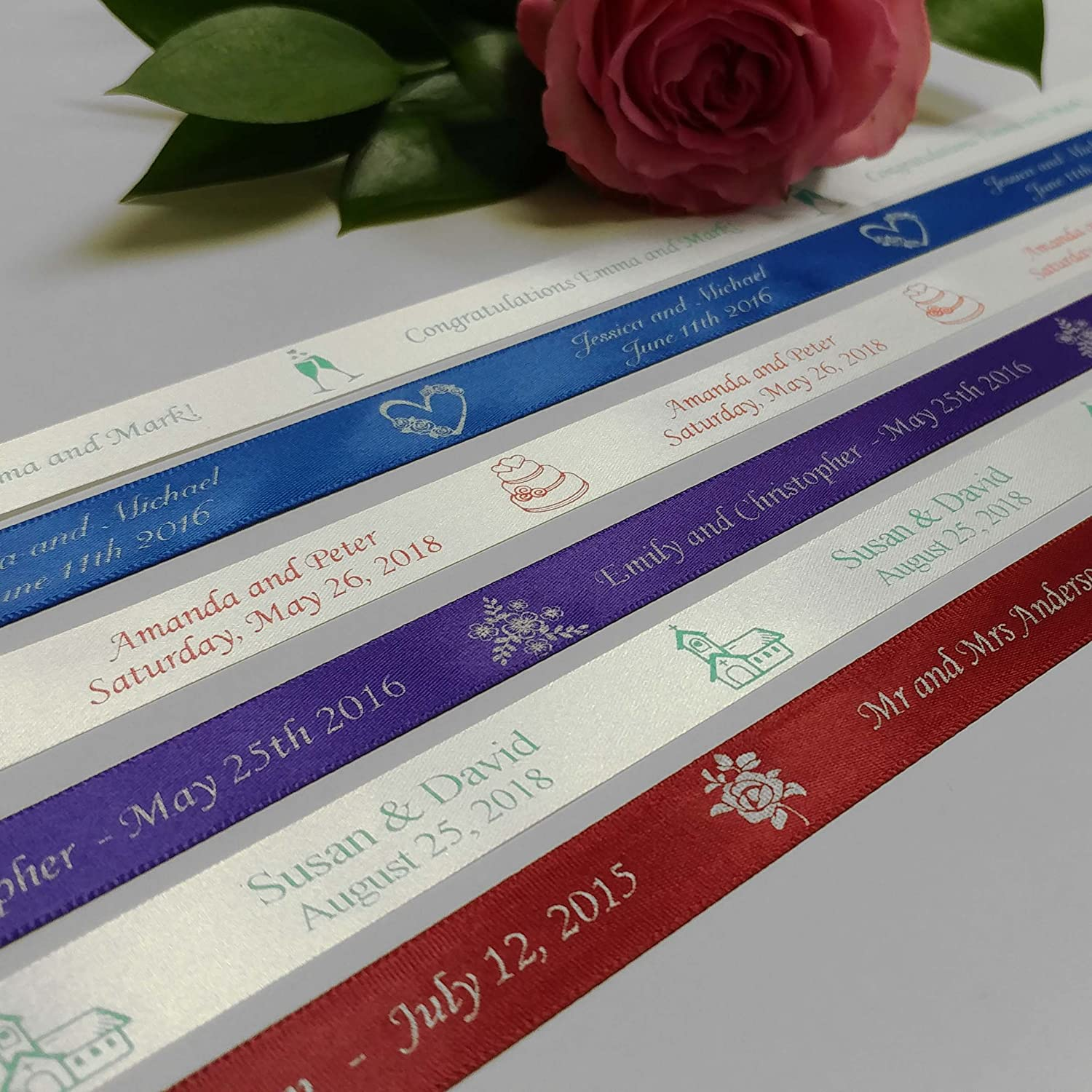 90 plain edge PERSONALIZED satin RIBBONs Party Wedding Baby Shower Favor