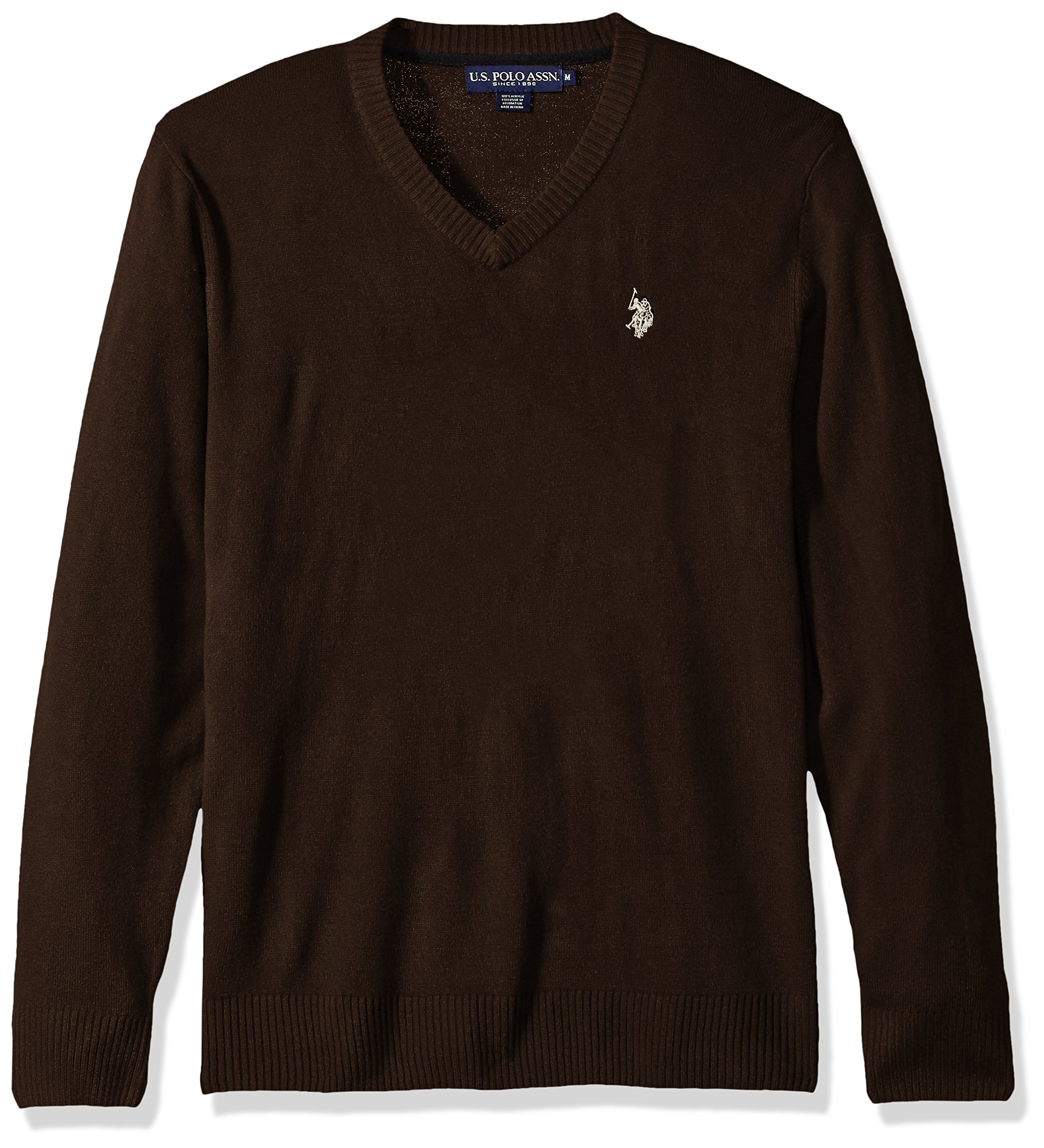 U.S. Polo Assn. Men's Solid V-Neck Sweater, Mocha Heather, XX-Large