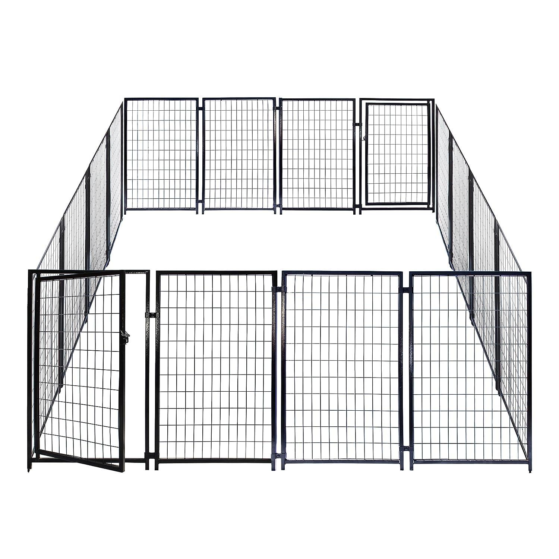amazoncom aleko 2dk5x5x4sq dog kennel heavy duty pet playpen 10x10x4 foot dog exercise pen cat fence run for chicken coop hens house pet supplies
