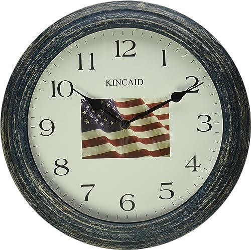 Kincaid 13 Patriotic American Flag Wall Clock w Distressed Finish Decor Effect.