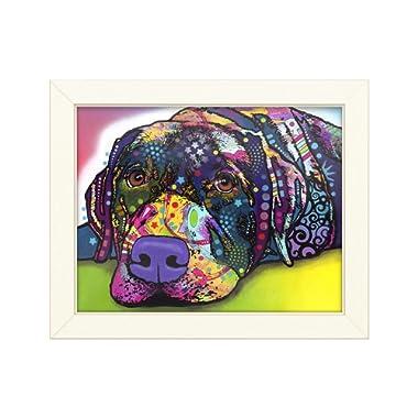 Trademark Fine Art Savvy Labrador by Dean Russo, Distressed White Frame 11x14, Multi-Color