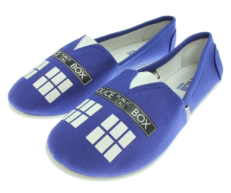 Women's Blue Tardis Slip On Shoes
