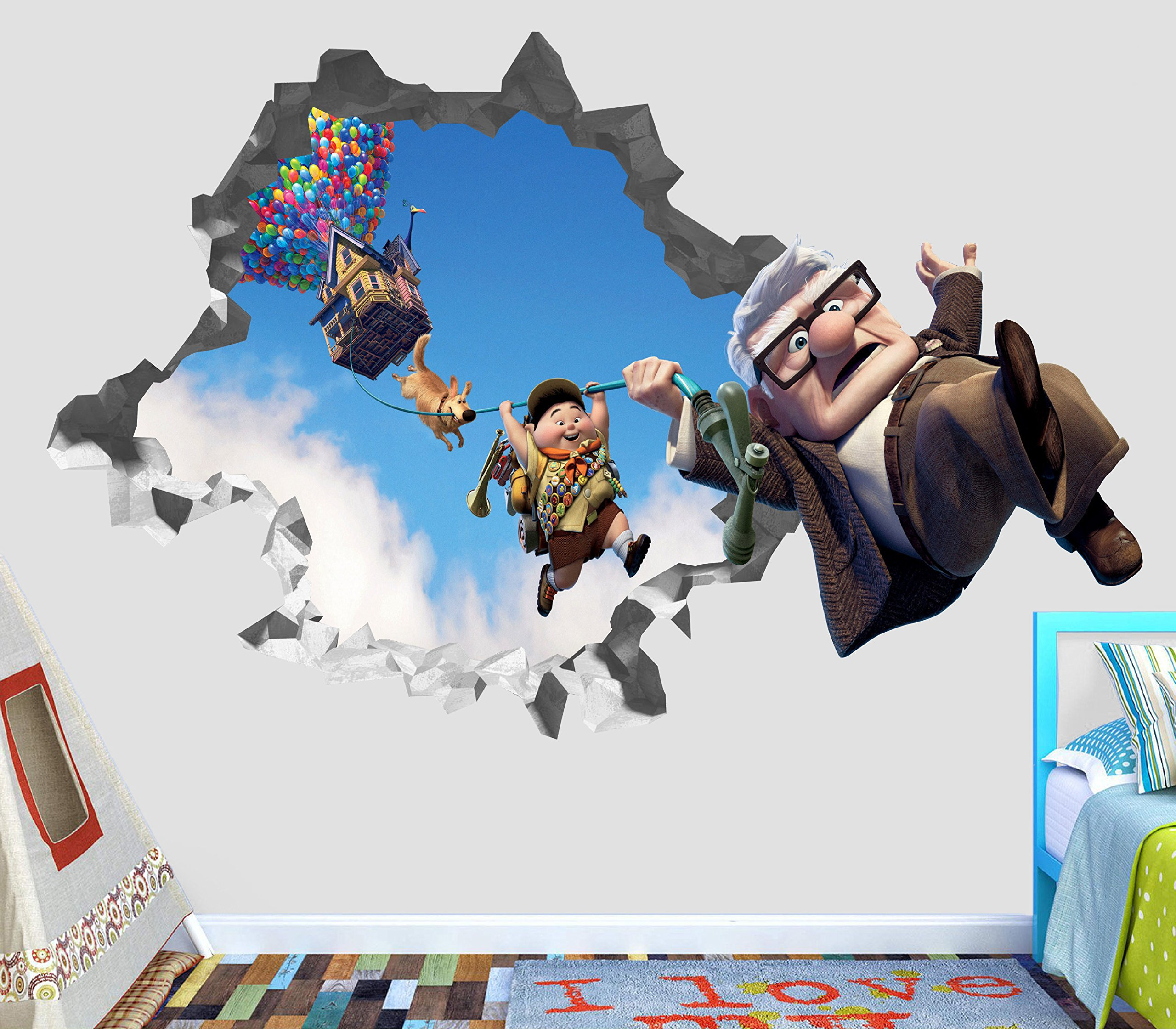 Up Movie Disney Pixar Carl Russel Paradise Falls Balloons Wall Decal Sticker Vinyl Decor Door Window Poster Mural - Broken Wall - 3D Designs - OP36 (Small (Wide 22'' x 12'' Height))