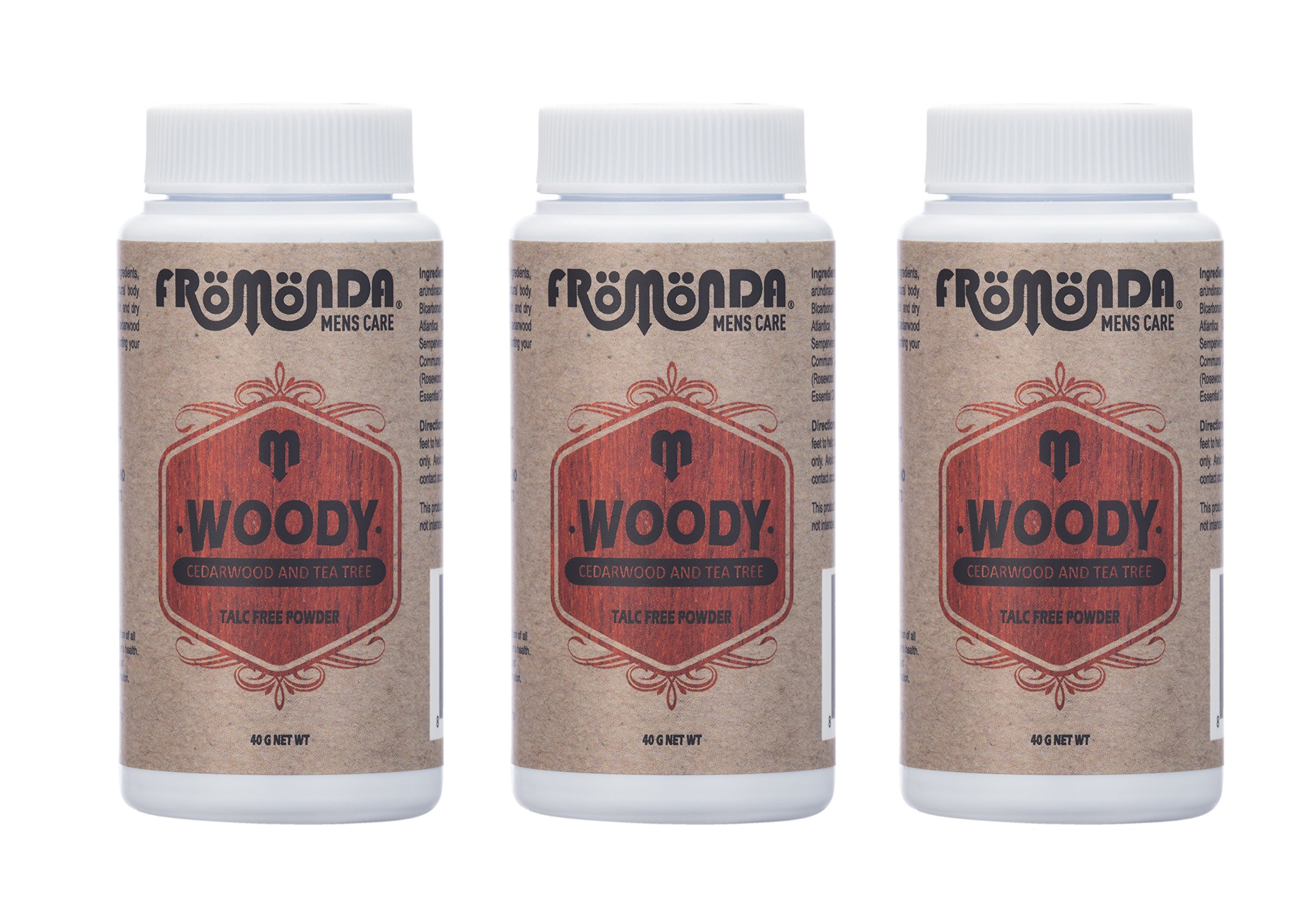 Fromonda Woody Talc Free Body Powder - Natural Dry Deodorant Made With Essential Oils For Men & Women – Athletic Dusting Powder – Vegan - 1.4 OZ 3 Pack