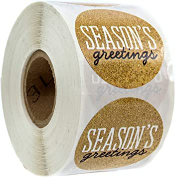 "250 2/"" SEASON/'S GREETINGS  CIRCLE Labels Stickers GOLD CHRISTMAS HOLIDAY SEALS"